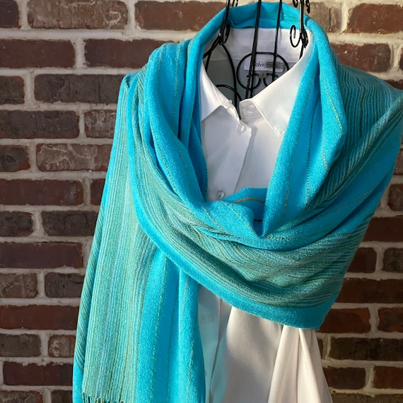 Vintage Robin Blue Embroidered Scarf, Stripped Thread Scarf with Fringe, Oblong, Unisex Scarf