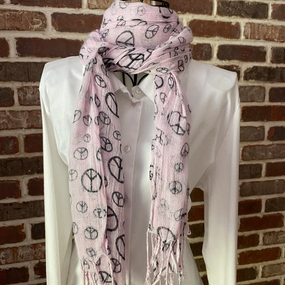 Vintage Peace Sign Print Scarf, Extra Long Black and Pink