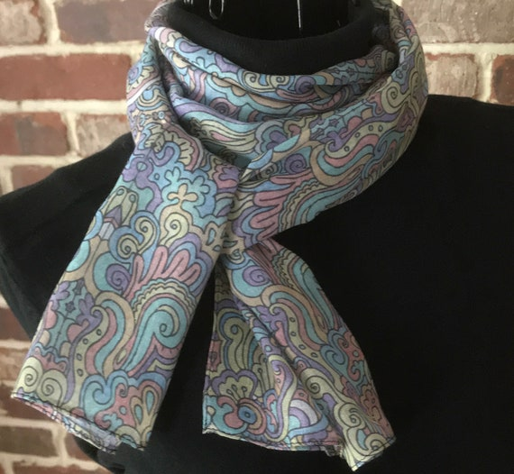 Graffiti Art Scarf, Hand Colored Abstract Print Oblong Scarf, Wearable Art Scarf