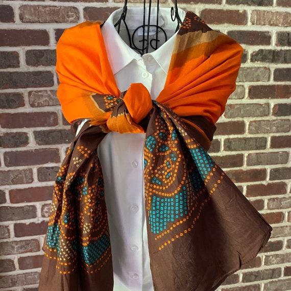 Institut Esthederm Paris 100% Cotton Scarf, Center Floral Medallion Design, Orange Bright Orange, Large Blue and Brown Scarf with Pouch