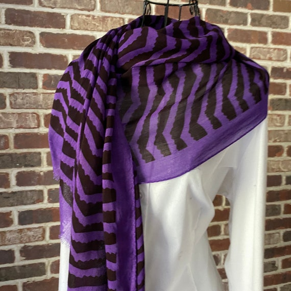 Vintage Marc Jacobs Scarf, Purple and Black Chevron Scarf with Frayed Fridge Ends