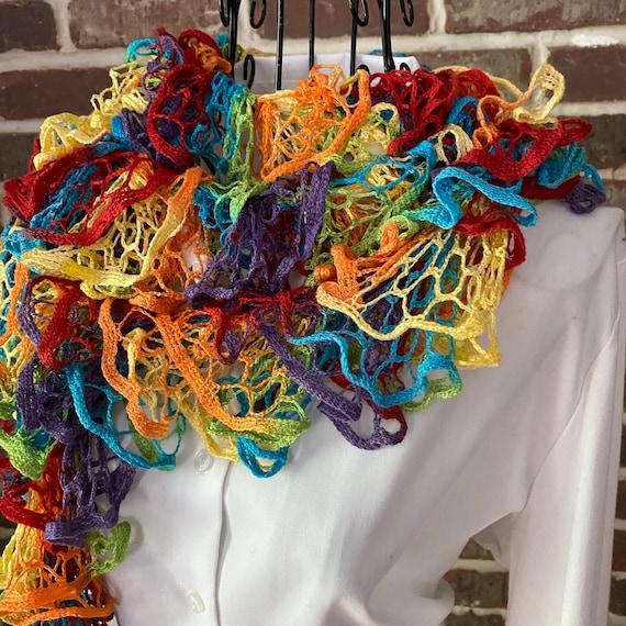 Vintage Crochet Ruffle Scarf, Rainbow Bell Design Boa