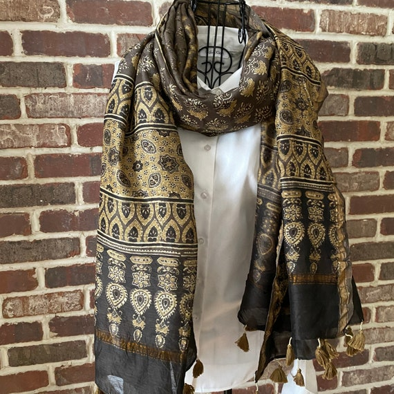 Artisan Indian Hand Block Print Silk Shawl, Chocolate and Gold Floral Pattern