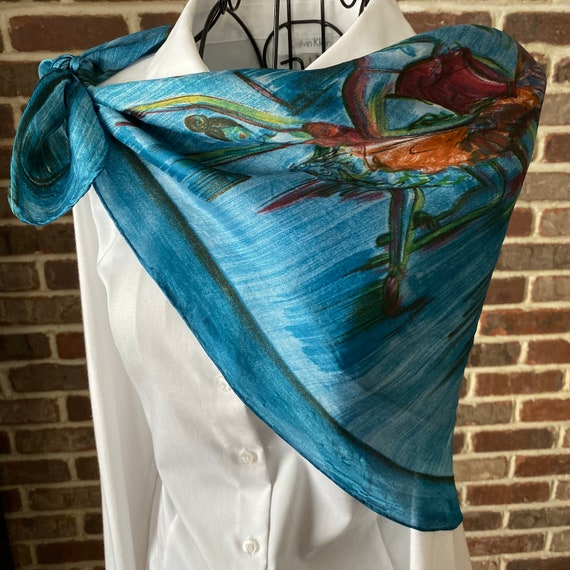 Vintage Blue Square Scarf for Women, Ballet Motif Print Scarf