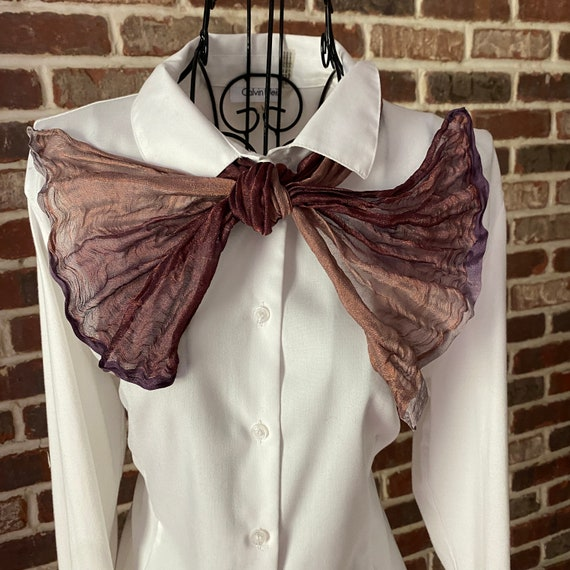 Vintage Silk Crinkled Iridescent Neck Scarf, Women's Short Oblong Scarf