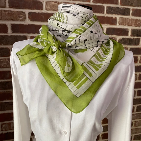 I'm In The Band Vintage Pistachio Square Scarf Made In Italy, Musician's Scarf