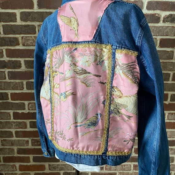Embellished Michael Kors Denim Jacket, Zita Upcycled Silk Scarf Hand Stitched One of a Kind Jean Jacket