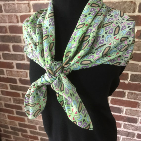 Celtic Green Geometric Print Square Scarf, Soft Scarf, Hand Colored Art Wear Scarf
