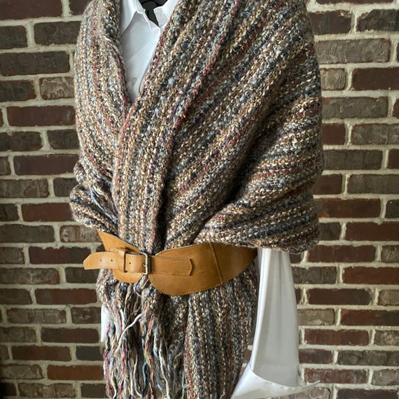 Vintage Blanket Scarf Hand-Woven Wool, Hand Spun S