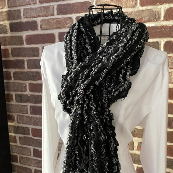 Vintage Black and Silver Ruffle Scarf, Romantic Ruching with Silver Thread
