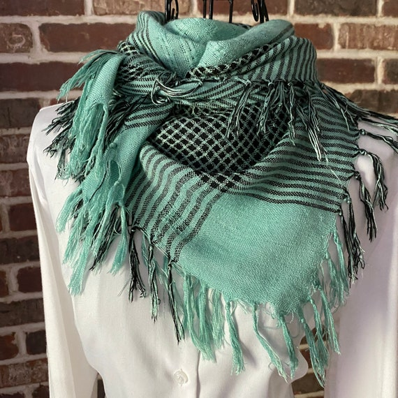 Vintage Teal Plaid Cotton Scarf, Blue Green and Black Square Scarf with Fringe