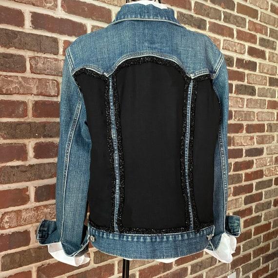 Embellished Denim Jacket, Upcycled Black Silk Scarf with Black Beaded Trim, Hand Stitched One of a Kind Jean Jacket, Large