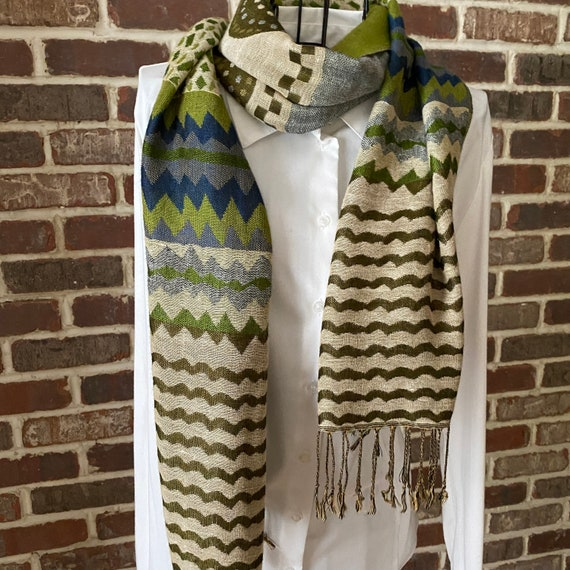Vintage 70s Style Zig Zag Chartreuse Knit Scarf, Chevron, Geometric and Confetti Patterns, Long Knit Scarf