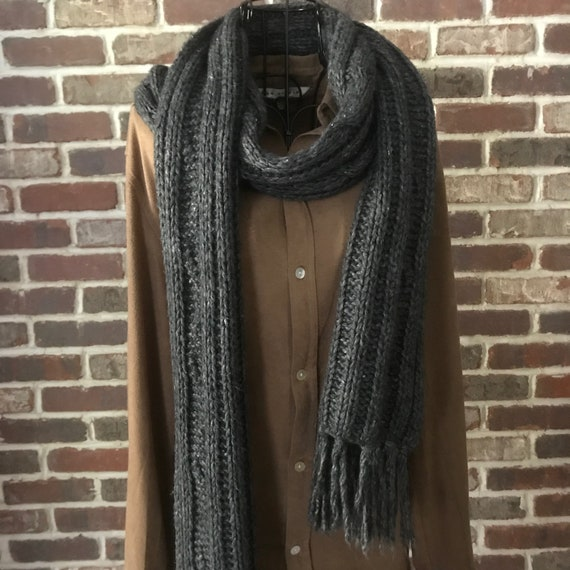 Vintage Gray Cable Knit Wool Scarf, Pure Wool Extr