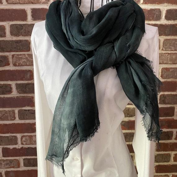 Vintage Smoke Gray Tie-dye Cotton Scarf, Extra Long Scarf, Cotton Sarong, Cotton Wrap, Boho Shawl