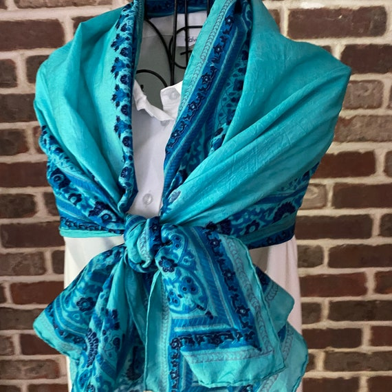 Vintage Paisley Turquoise Indian Silk Scarf