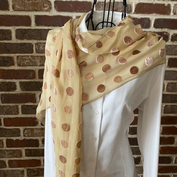 Vintage Burnout Silk Velvet Scarf with Textured Beige Polka Dots Geometric Silk Scarf