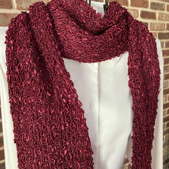 Vintage Cranberry Red Ladder Yarn Scarf, Intricately Weaved Confetti Scarf