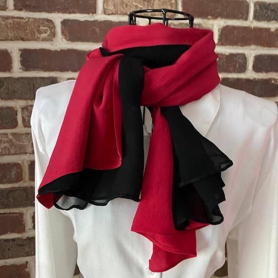 Vintage Sheer Black and Red Silk Scarf, Opera Scarf
