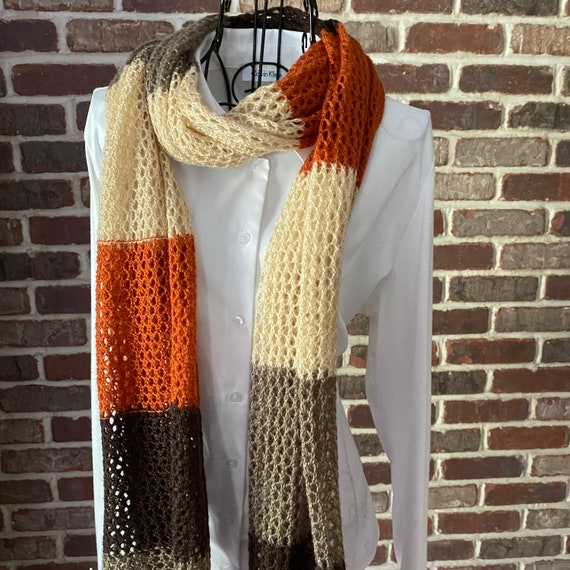 Vintage Stripped Open Weave Scarf, Rustic Style Scarf of Brown, Beige and Brick