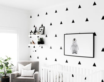 "4"" Matte Black Triangle Wall Vinyl Decal Sticker - Set of 10"