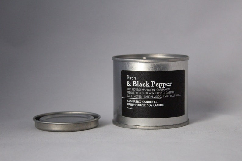 Birch & Black Pepper Scent - All Natural Soy Wax - Earthy Smelling Candle -  4oz