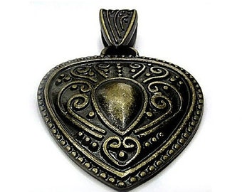 Chain pendant Babylonian Heart Antique brass Optionally with band Babylonian heart Pendant Jewelry