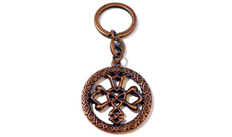 Keychain CELTIC WEDDING KNOT Old Bronze Celtic Wedding Symbol Wedding Cross Celtic Cross Silver Finishing Keychain