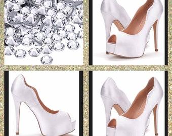 9d2a9639b2d12 Custom wedding shoes wedding heels White wedding heels  crystal high heels Glitter  shoes  bridal shoes Garter