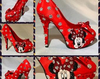 Minnie Mouse wedding Heels Minnie Mouse Polka Dot Mickey | Etsy