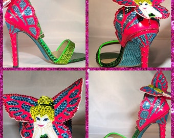 d3cef1f127eb Custom Tinkerbell PeterPan High Heels