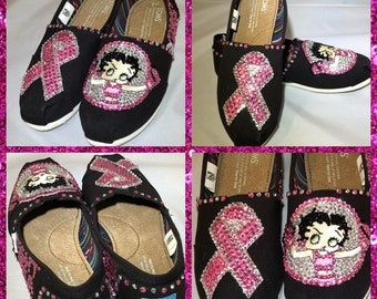 Handmade Cancer Awareness Toms Shoes, Betty Boop Embroidery slip on shoes,Betty Boop Rhinestones espadrilles shoes, Breast Cancer Survivor