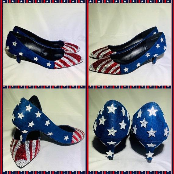 Handmade American Flag Heels Red White