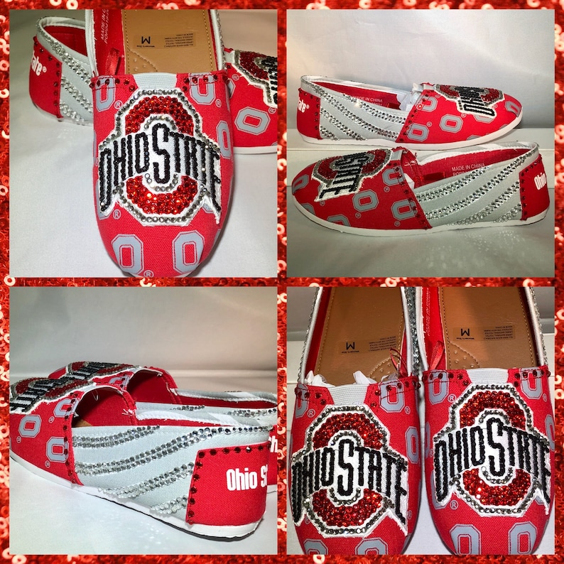 d65e13fb Handmade Ohio State College slip on Shoes Ohio State College | Etsy