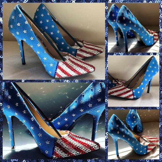 8eedb28f749 Handmade American Flag Heels, Red White and Blue heels Memorial Day  Heels,July 4th Heels,Rhinestone Heels ,wedding shoes ,American Flag Shoe