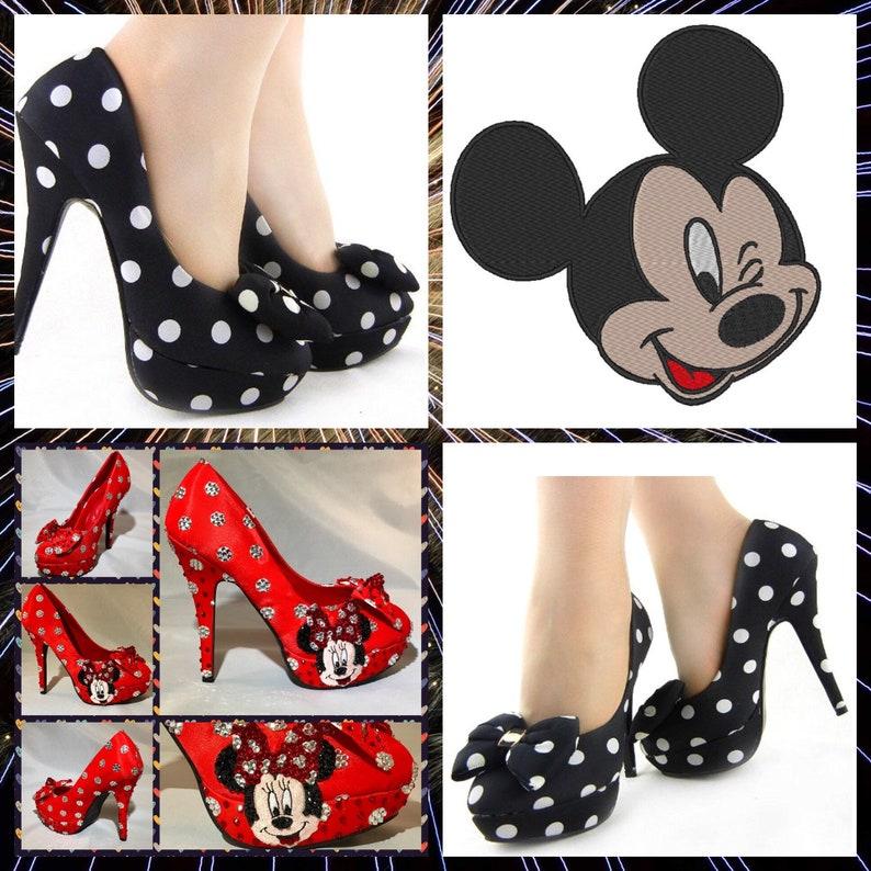 891952a85af4 Handmade Mickey Mouse HeelsMickey Mouse Polka Dot