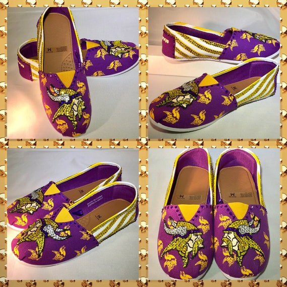 ade57d83ebf85 Handmade Custom MN Vikings Canvas stripe Slip-on shoes
