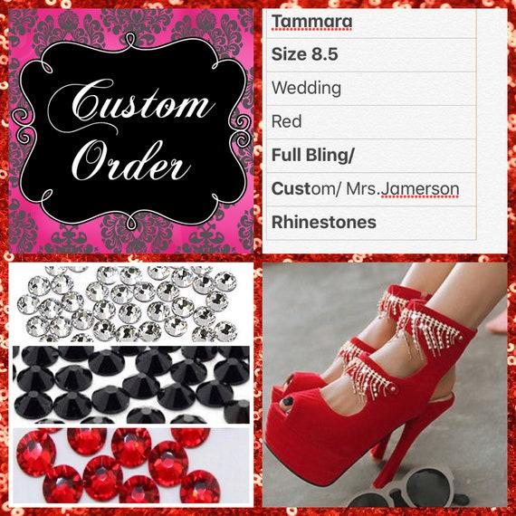 watch save off reputable site Tammara Custom Wedding Heels size 8.5, Custom Rhinestone Bridal heels, Red  wedding shoes, Bling high heels,Spring wedding , Glitter heels