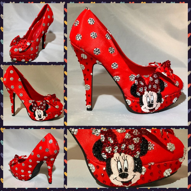 f92fa348aa72 Handmade Minnie Mouse HeelsMinnie Mouse Polka Dot
