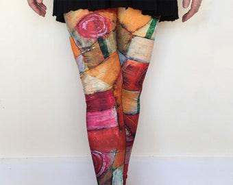 Women's Art Leggings, Paul Klee Rose Garden