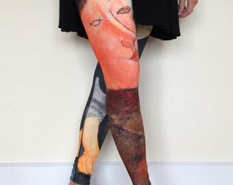 Women's Art Leggings, Two Modigliani Paintings