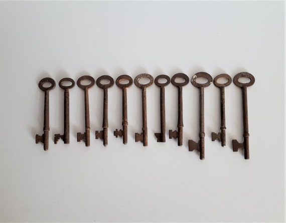 Soviets farmhouse decor Antique Rusty Metal keys Set of 3 vintage skeleton keys Russian collectibles mid century  Masculine decor
