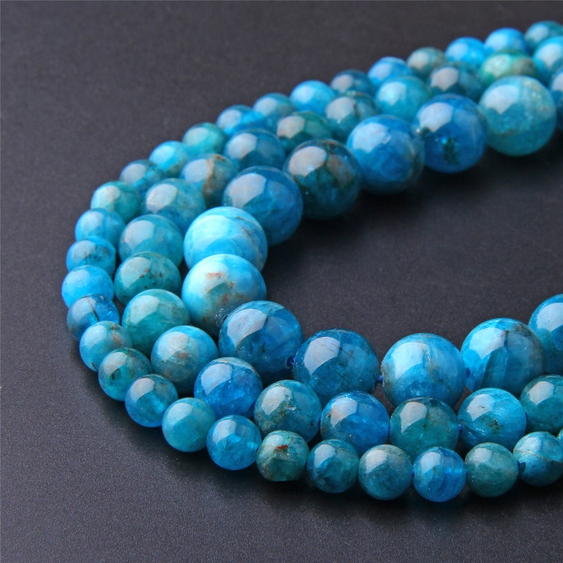 15.5Natural Apatite Beads 6mm 8mm 10mm 12mm Polished Round Blue Apatite Gemstone Bead For Jewelry Bracelet Necklace Making,Wholesale