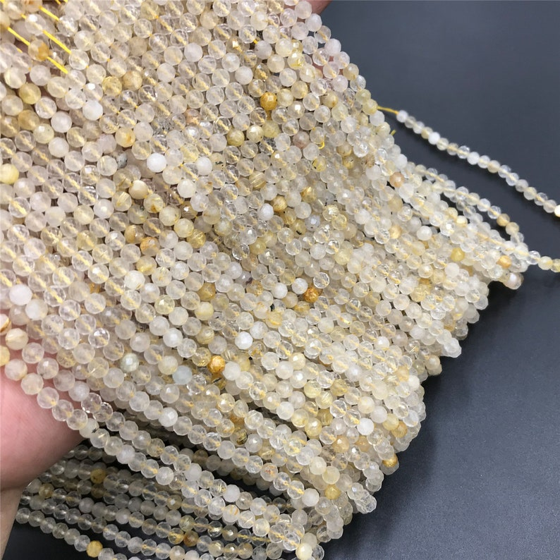 Micro Faceted Gemstone Beads 15.5 Golden Rutilated Quartz Beads Round Beads  2mm 3mm 4mm Rutilated Quartz Beads For Jewelry Making
