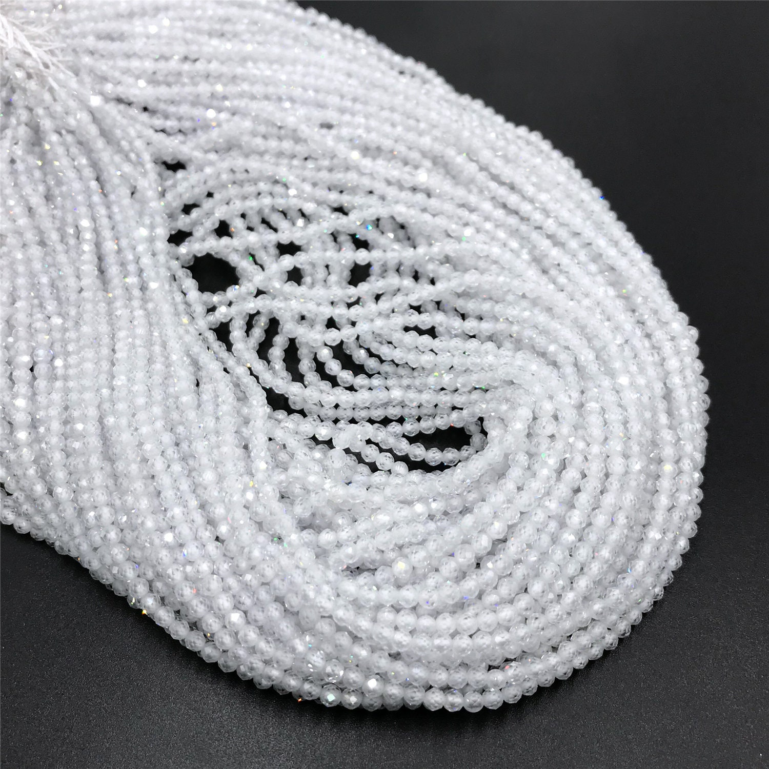 Micro Faceted Gemstone Beads 15.5 White Zircon Beads Round Beads 2mm 3mm Zircon Beads For Jewelry Making,wholesale