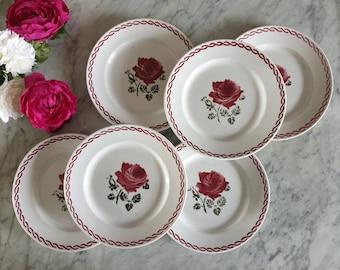 Hirondelle porcelain Clarfoutis plates French 1970/'s Clafoutis plates French dessert plates.