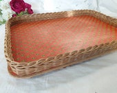 Vintage rattan servant tray