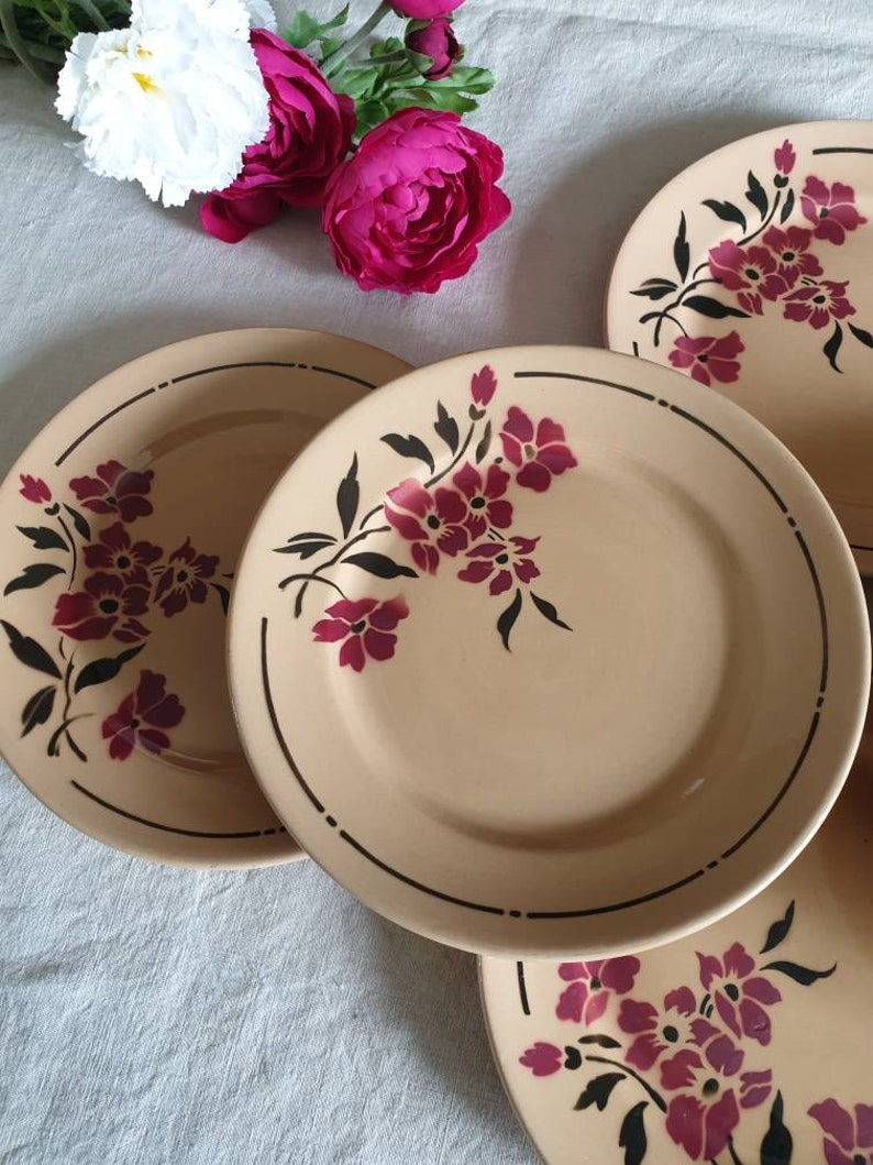 Dessert plates lot X6 old retro floral model of the French manufacture of Badonviller