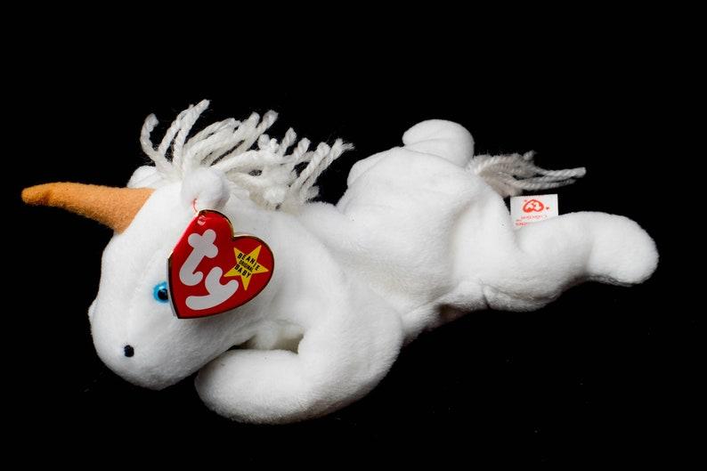 2e5588a3e94 Mystic Unicorn Tan Horn Yarn Mane 1993 Ty Beanie Baby