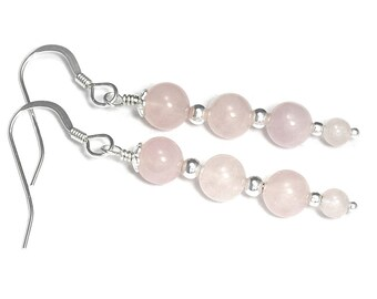 Sterling and 4 Rose Quartz Beads and Silver Details Earrings, Light Pink Jewelry